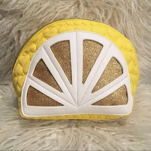 Betsey Johnson Quilted Kitsch Lemon Cosmetic Bag